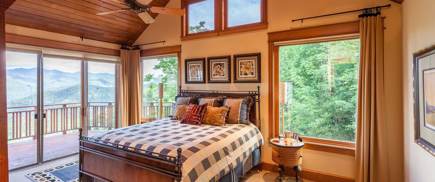 luxury bedroom at mountain air properties