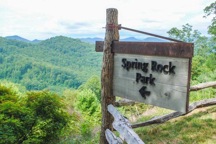 hiking spring rock park at mountain air