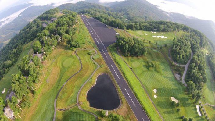 Aerial Shot of Mountain Air Landing Strip